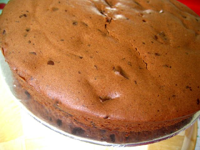 unfrosted dark chocolate coffee surprise cake